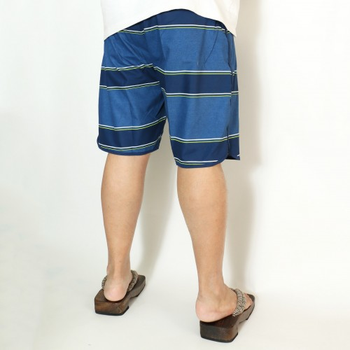 Striped Dolphin-Hem Board Shorts - Blue