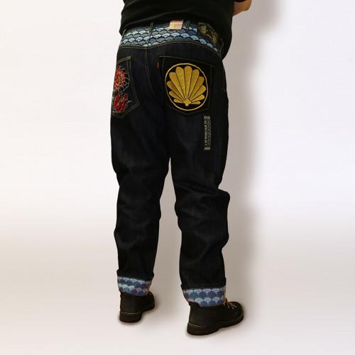828 Ukiyo-e Embroidery Denim - Tengu