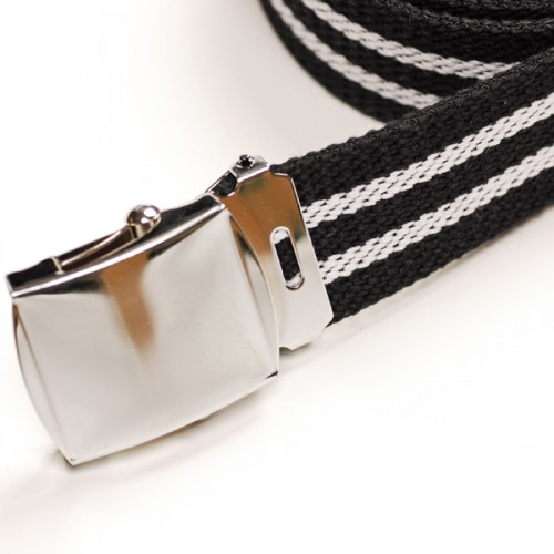 Long Casual Web Belt - Black/White
