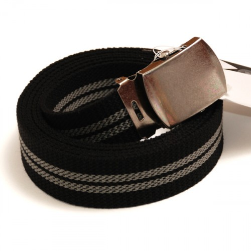 Extra Long Casual Web Belt - Black/Grey