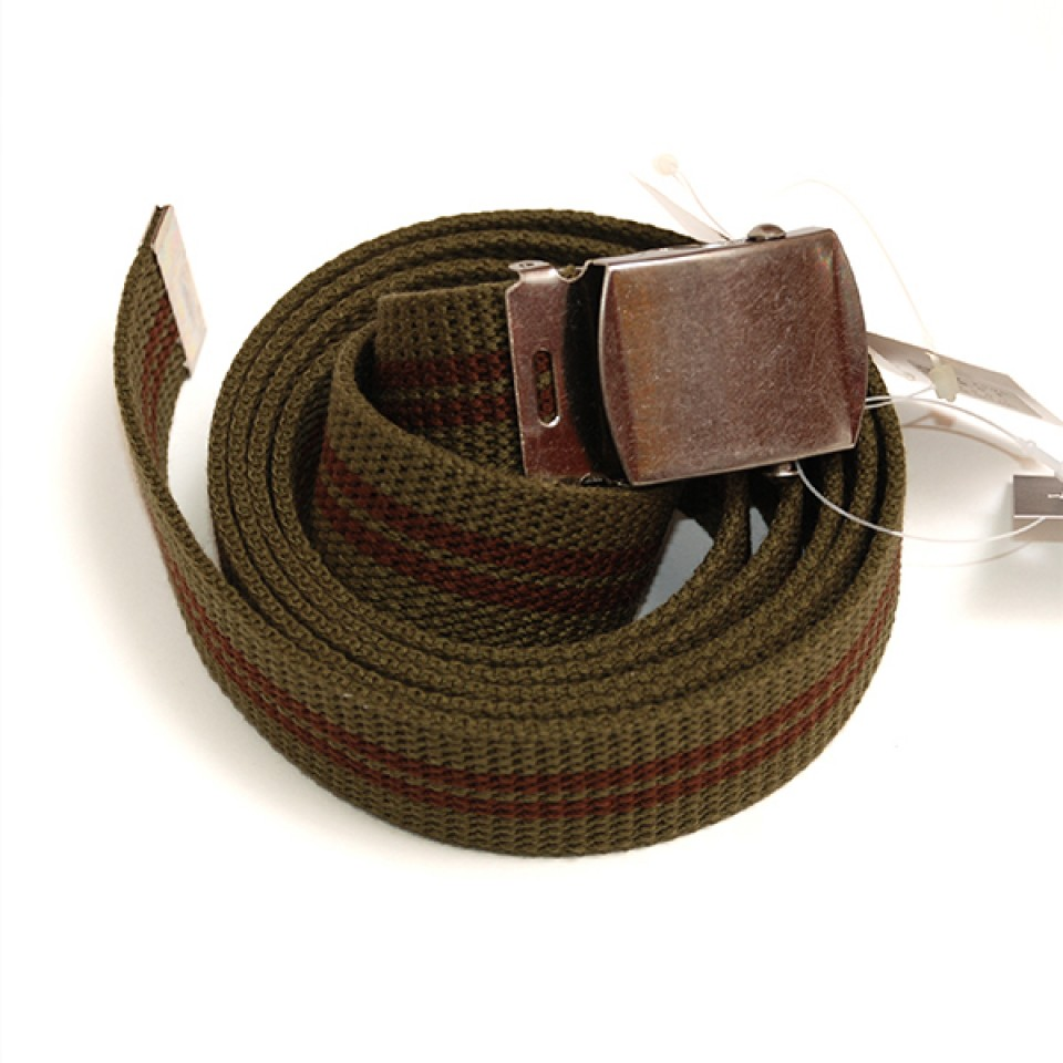 Extra Long Casual Web Belt - Green/Wine