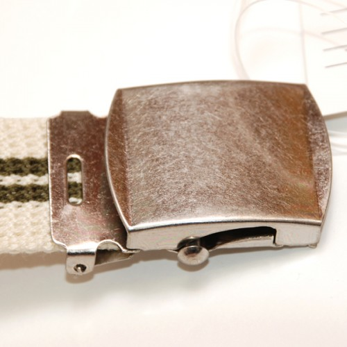 Extra Long Casual Web Belt - White/Green