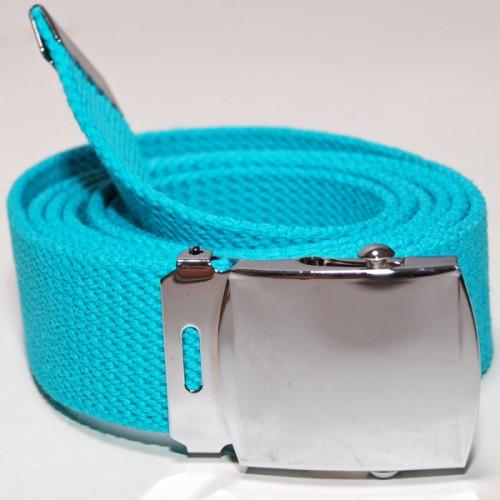 Long Casual Web Belt - Shine Blue