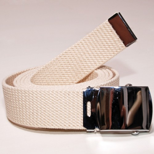 Long Casual Web Belt - White