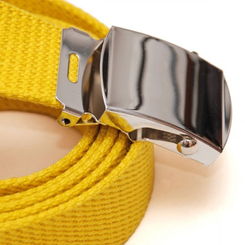 Long Casual Web Belt - Yellow