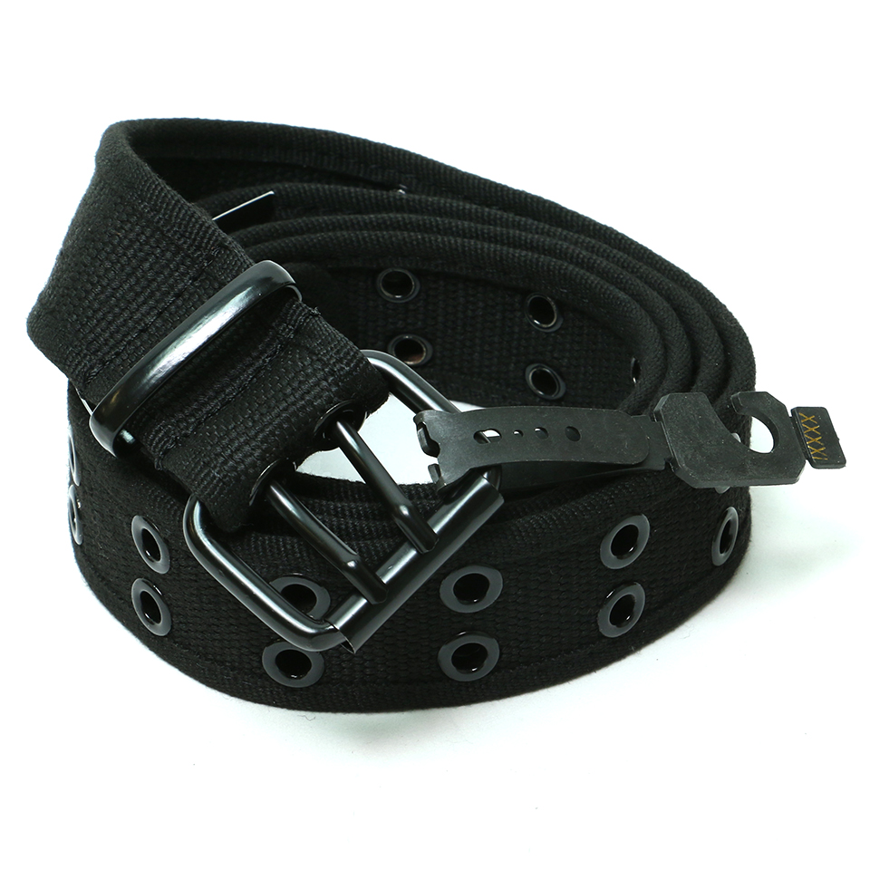 Canvas Double Hole Belt - Black