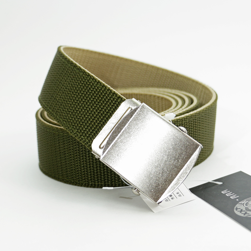 Extra Long Reversible Casual Belt - Green/Beige