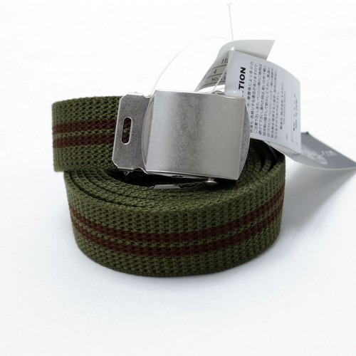 Extra Long Casual Web Belt - Green/Brown