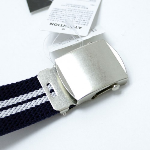 Extra Long Casual Web Belt - Navy/White