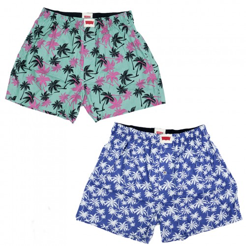 Palm Tree Pattern Boxer Set - Blue/Green