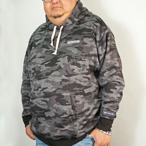 Camouflage Knit Fleece Pull Parka - Charcoal