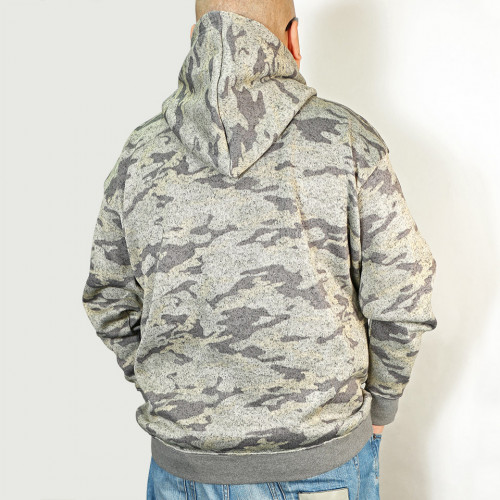 Camouflage Knit Fleece Pull Parka - Grey