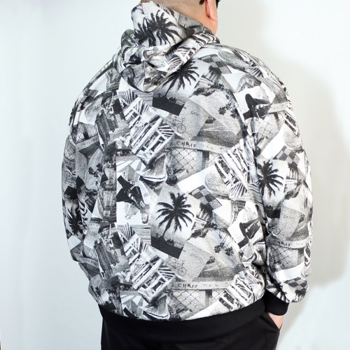 Santa Monica Black & White Photo Print Hoodie - Black/White