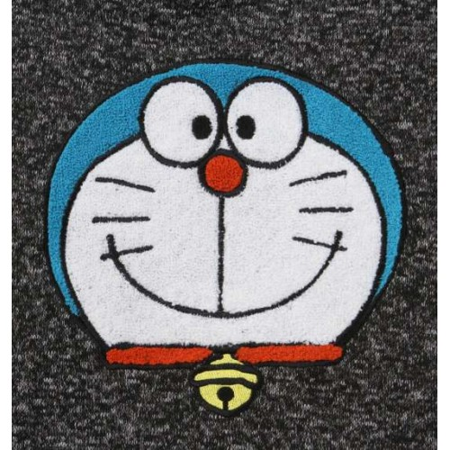 Doraemon's Smile Knit Fleece Hoodie - Heather Charcoal