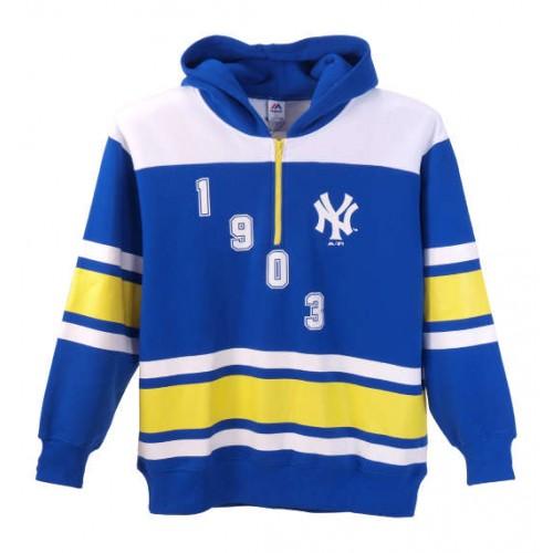 1930 NY Collar Half Zip Hoodie - Blue
