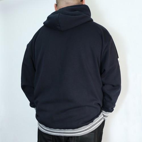 Simple Back Brushed Hoodie - Navy