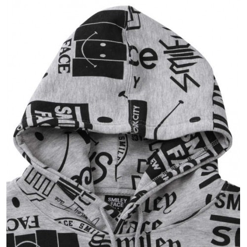 All Smiley Face Word Pattern Hoodie - Grey
