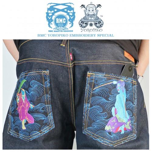 Authentic Exclusive Warrior Embroidered Raw Selvedge Denim Jeans - Indigo