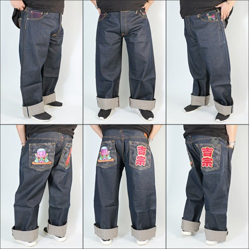 Genuine Exclusive Monk Embroidered Raw Selvedge Denim Jeans - Indigo