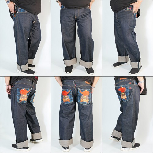 Super Exclusive Sumo Embroidered Raw Selvedge Denim Jeans - Indigo