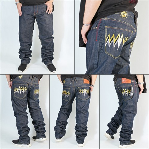 Genuine Exclusive Gold & Silver Embroidered Raw Selvedge Denim Jeans - Indigo