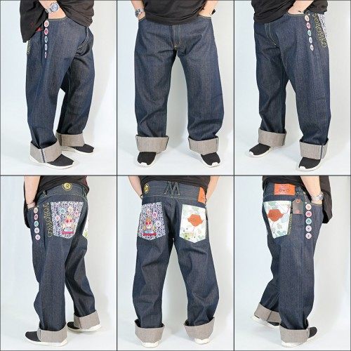 Greedy Genuine Embroidered Raw Selvedge Denim Jeans - Indigo