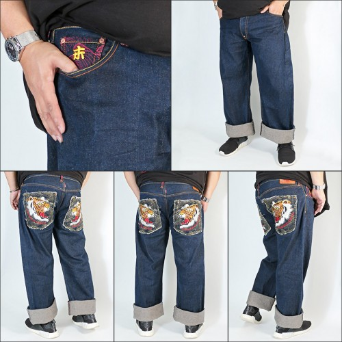 Genuine Exclusive Tiger Embroidered Washed Selvedge Denim Jeans - Indigo
