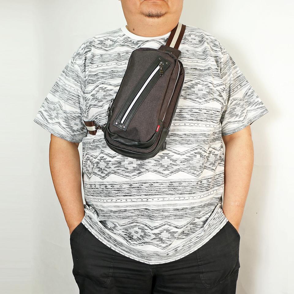 Denim One Shoulder Bag - Black