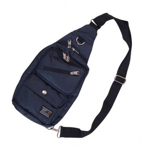 Soft Twill 2 Pocket One Shoulder Bag - Navy