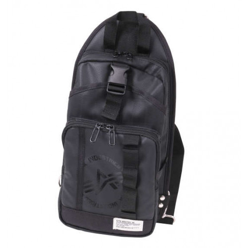Carbon Lip Multi Pocket Vertical One Shoulder Bag - Black