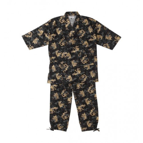 Ryujin's Full Pattern Japanese Work Clothes - Black