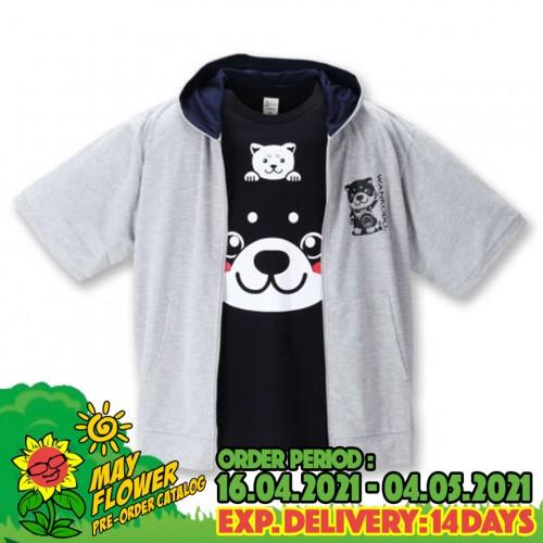 Cute Shiba Head Full Zip Hoodie Set - Grey/Black
