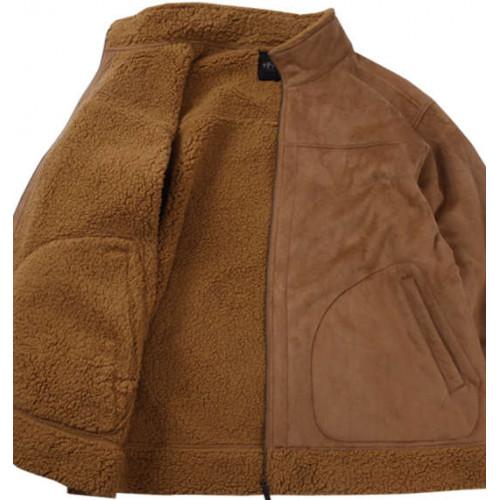 Fake Mouton Stand Jacket - Brown