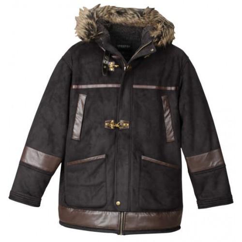 Fake Mouton Fire Man Jacket - Black