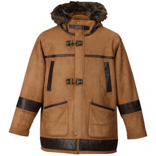 Fake Mouton Fire Man Jacket - Brown