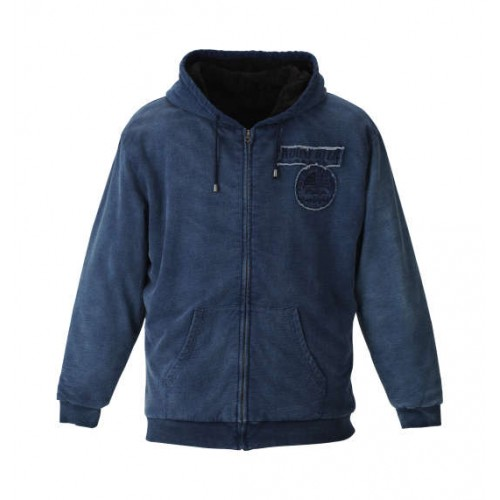 Back Bore Print Embroidery Full Zip Parka - Indigo
