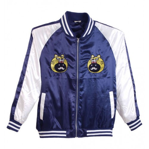 Tiger Wearing Lucpy Embroidery Satin Jacket - Navy