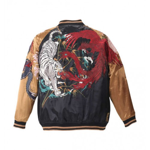 Four Gods Embroidery Sukajan Jacket - Black/Gold