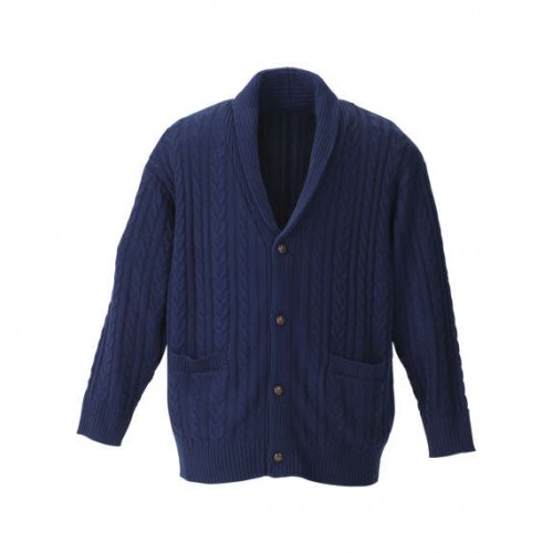 Gentle Cable Knit Cardigan - Navy