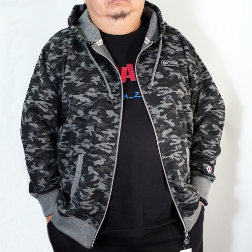 Camouflage Pattern Full-zip Parka - Charcoal