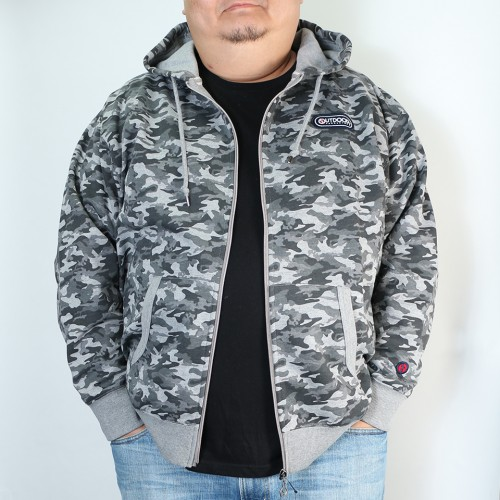 Camouflage Pattern Full-zip Parka - Grey
