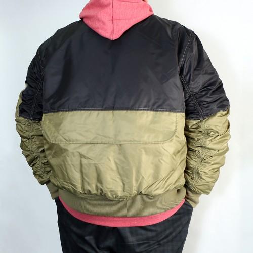 Color Block Padded Flight Jacket - Black/Green