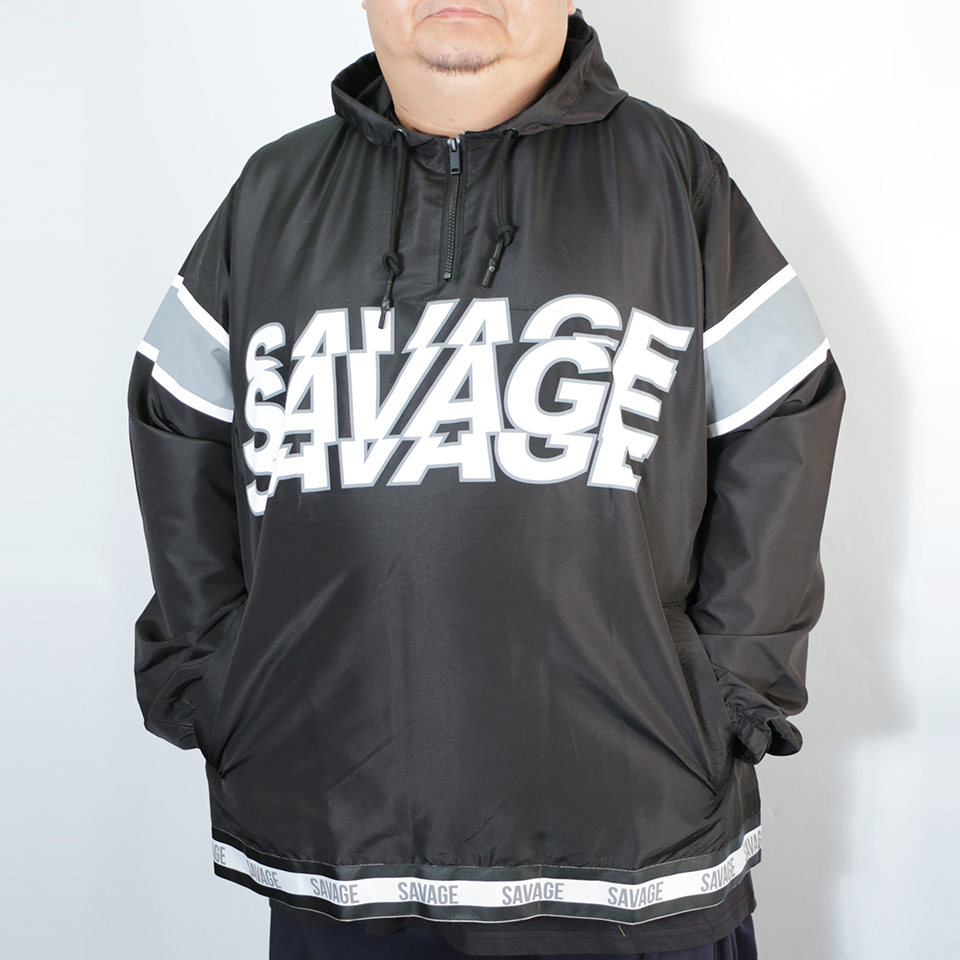 Savage Print Front Chest Anorka Parka - Black