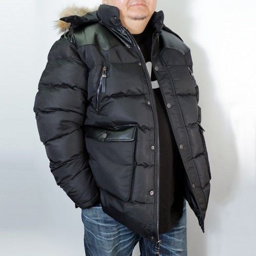 Modern Hooded Puffer Jacket - Black