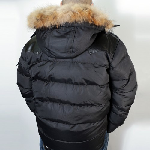 Modern Hooded Puffer Jacket - Black