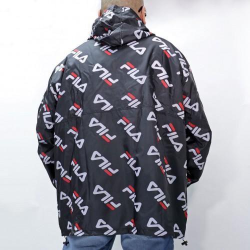 All Over Diagonal Logo Anorak Jacket - Black