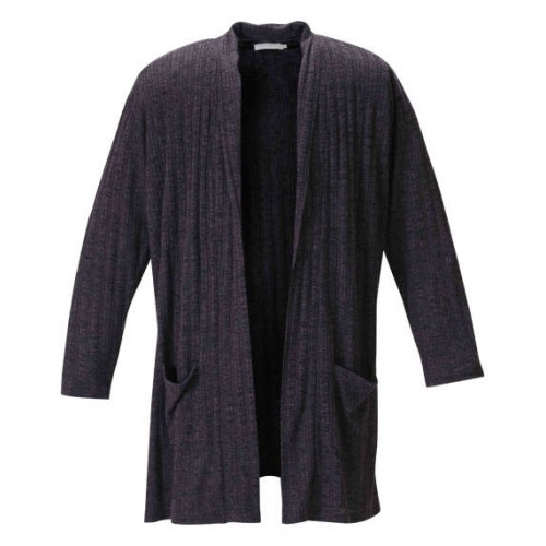 Stylish Stripe Cardigan - Black Heather