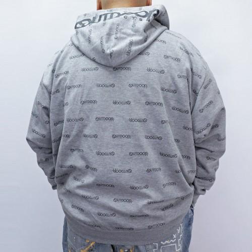 All Logo Print Cardboard Full Zip Hoodie - Grey