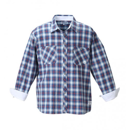 Roll Up Long Sleeved Check Shirt - Blue