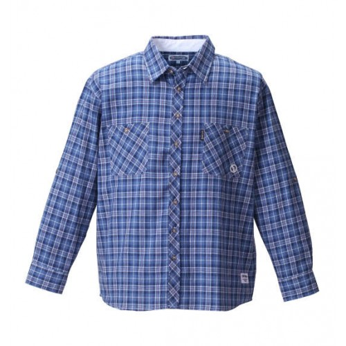 Roll Up Long Sleeved Check Shirt - Navy